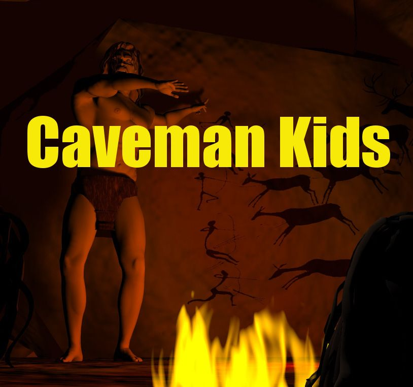 Caveman Kids is about life in a cave overlooking a lush green valley