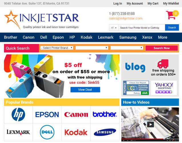 Inkjetstar.com homepage