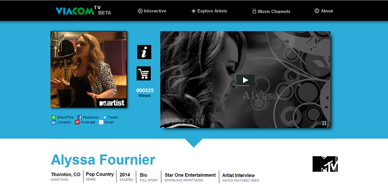 Artist Featured Video Page