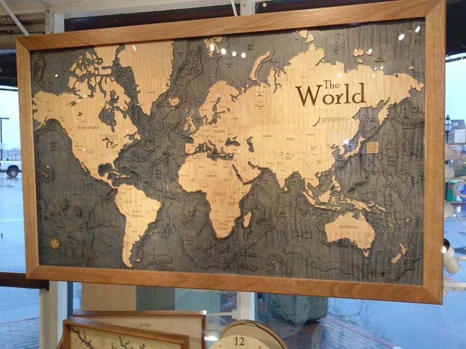Wooden Chart Art - The World