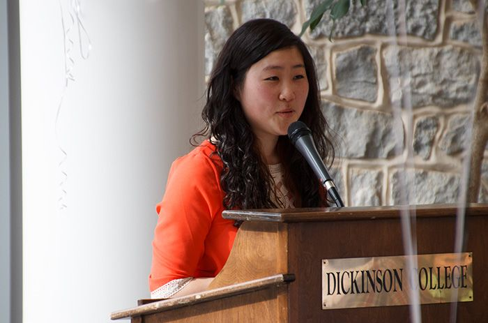 Hwang speaking at the 2014 launch party for the Dickinson Science Magazine.