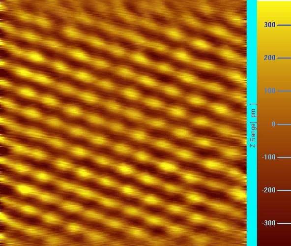 Atomically resolved topographic image of NbSe2 obtained @ constant current mode.