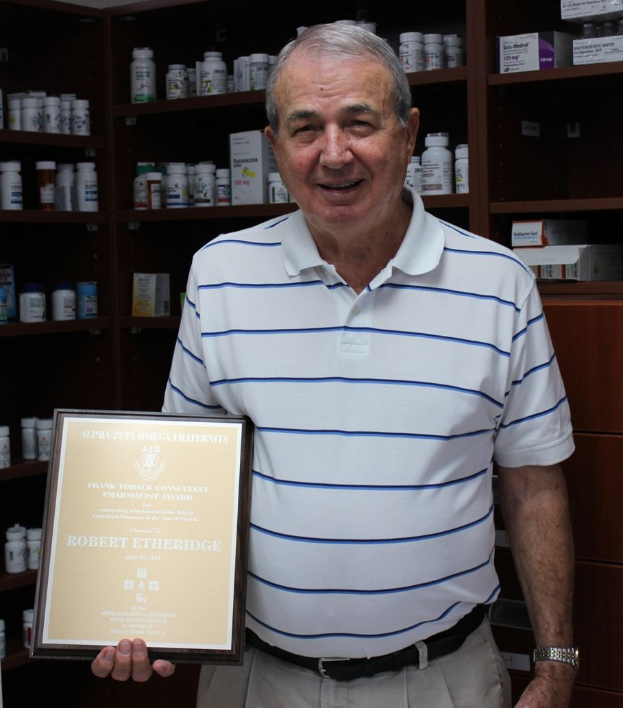 "Weyman"" Ethridge with his Frank Toback Consultant Pharmacist Award."