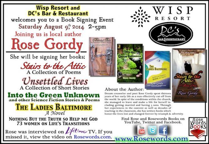 Rose Gordy - Wisp Resort Book Signing Flyer - August 9, 2014