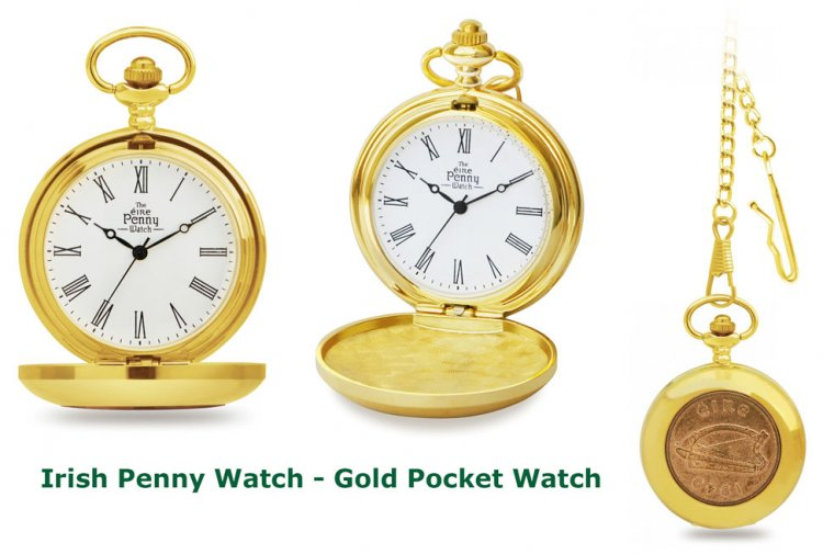 Gold Old Irish Penny Pocket Watch