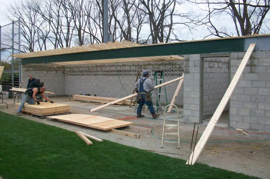 Local 599 volunteered to rebuild the Hammond Chiefs baseball dugout
