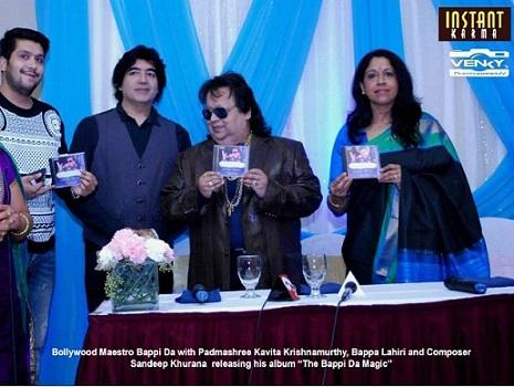 Sandeep Khurana with Bappi Da and Padmashree Kavita Krishnamurthy