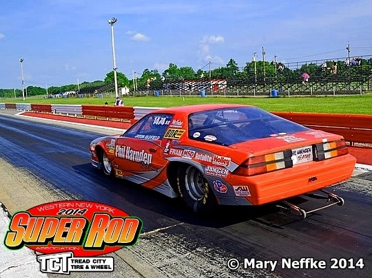 Jason Oldfield leaves the line at Empire Dragway in Phil Harnden's 1985 Camaro