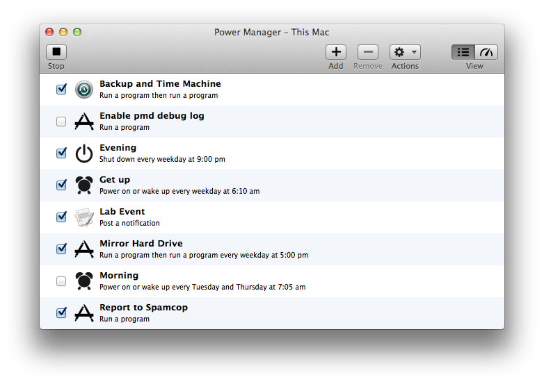 Power Manager on Mac OS X