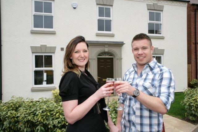 Lee Bradshaw and Emma Unwin at Davidsons 'Bakers Croft' development