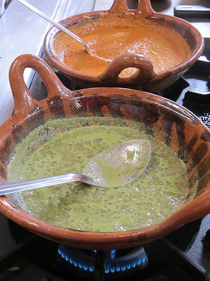 Red and Green Pipianes sauces