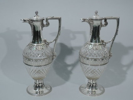 french belle epoque silver and cut glass decanters
