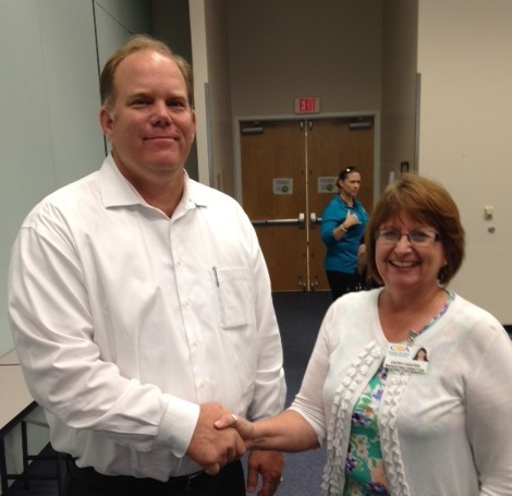 Rich Johnson of NA Office Solutions with Cathy Coates of COA Volusia.