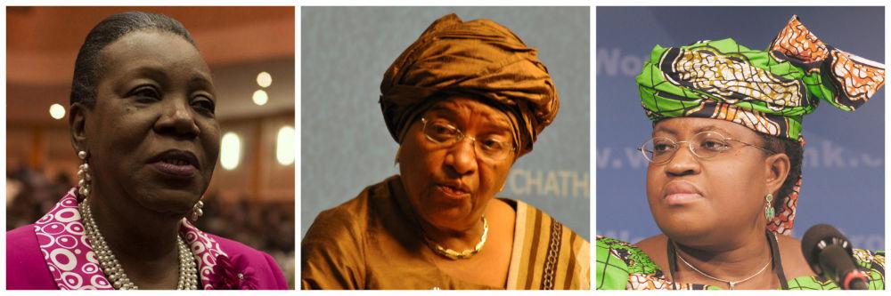 (l to r) Catherine Samba-Panza, Ellen Johnson Sirleaf, Ngozi Okonjo-Iweala