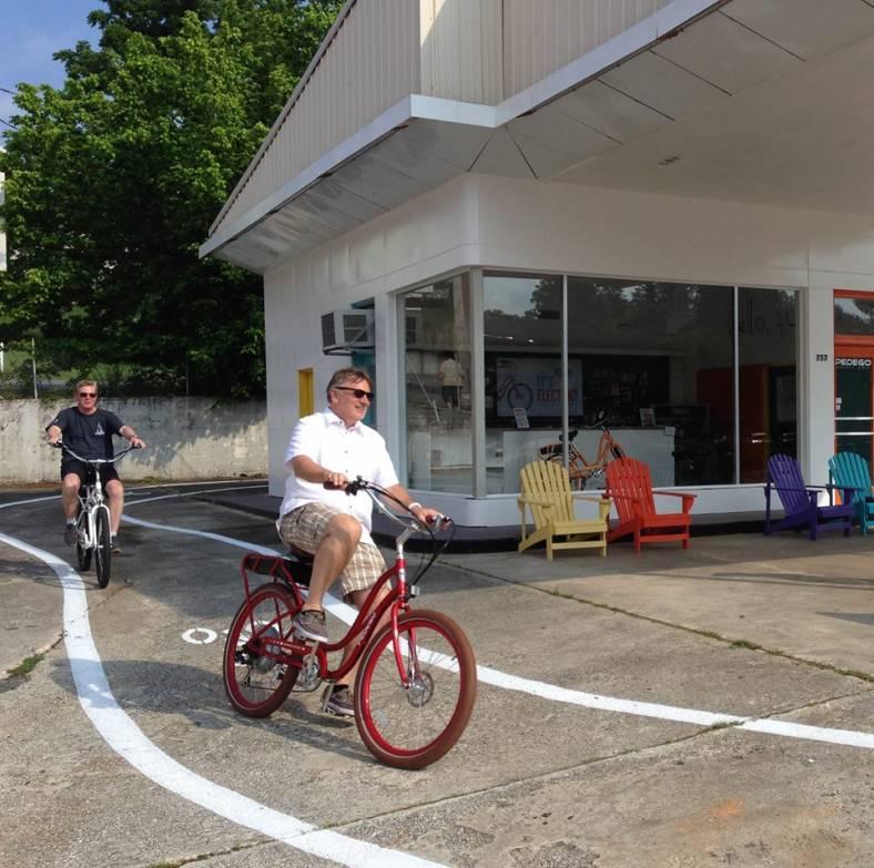 Cyclists enjoy Pedego Blue Ridge's private test ride track.