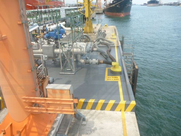 Skid resistant and chemical resistant deck coating of oil jetty on Jurong Island