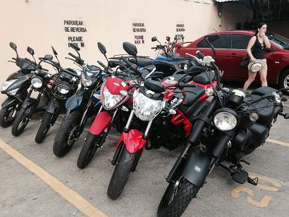 Some of the UM motorcycles stock at the Naturewalk Adventure Center Jaco