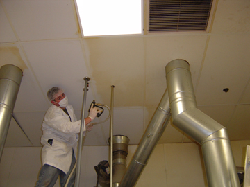 Bakery ceiling cleaning in progress