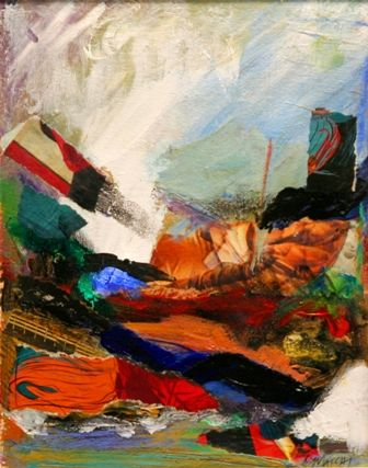 Lisa Macchi, mixed media collage, showcased at Art Show at The Hive, Chester, NJ