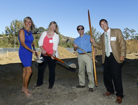 The first round of digging at The Grauer School's Groundbreaking Ceremony.