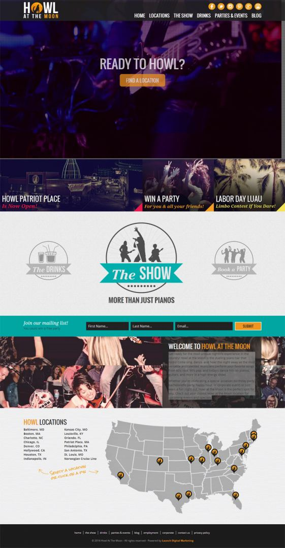 Howl at the Moon Homepage