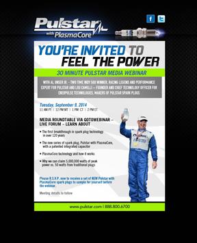 Pulstar With PlasmaCore Spark Plug Webinar Invite