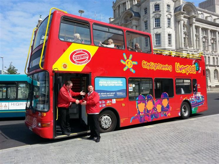 City Sightseeing Liverpool open top bus awaits.