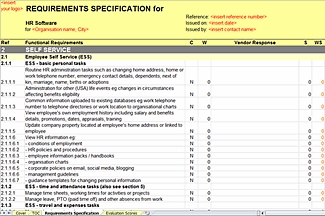 HR RFI/RFP Template - Requirements Specification - HR Self Service