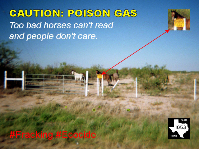 CAUTION: POISON GAS | Too bad horses cannot read | Fracking Ecocide