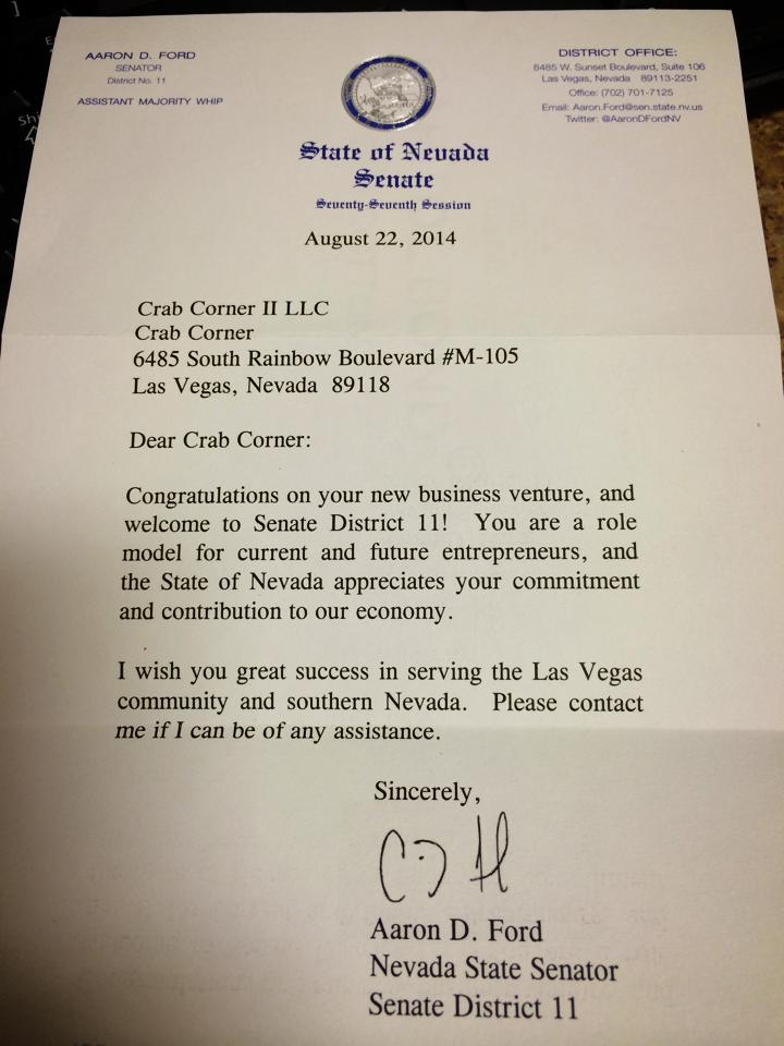 crab corner letter from state of nevada senate