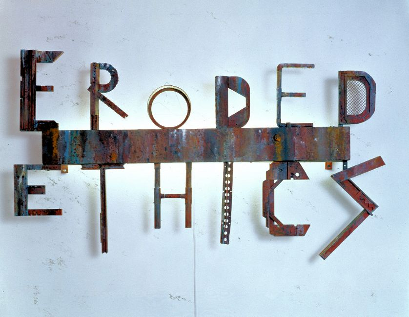 """Eroded Ethics, 1990, 28 3/4"""" x 50 3/4"""" x 5 3/4"""" - Painted wood, metal and light"""