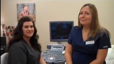 Sheila prepares to conduct an ultrasound on Brandi.