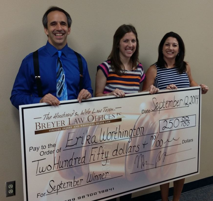 Breyer Law Offices, Teacher Appreciation Award September 2014, Erika Worthington