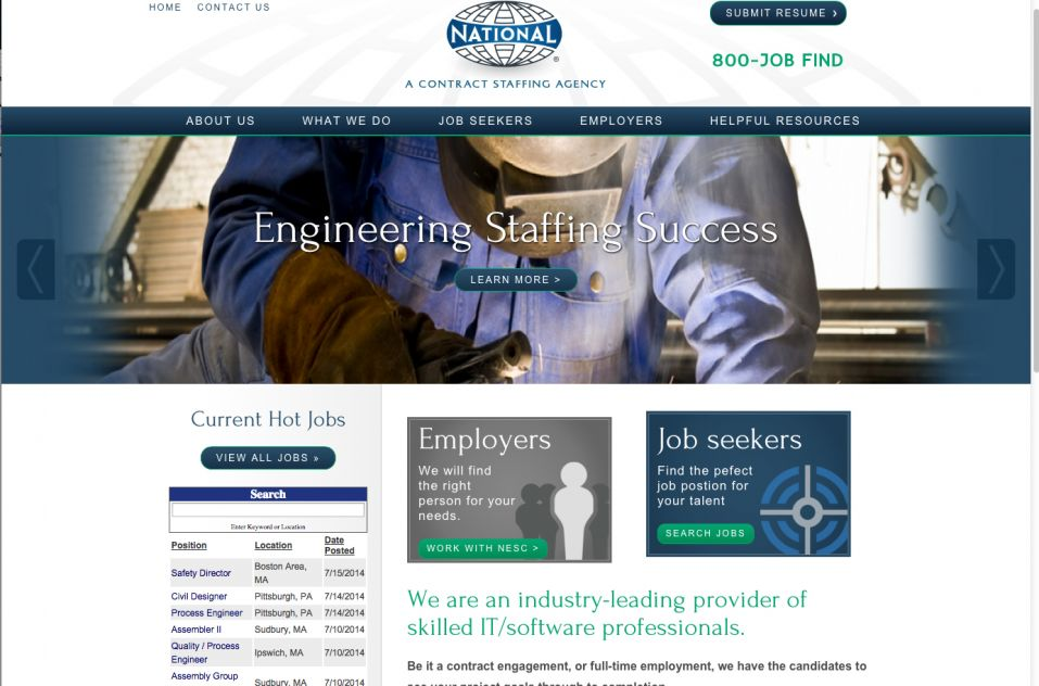Screen capture of National Engineering site.