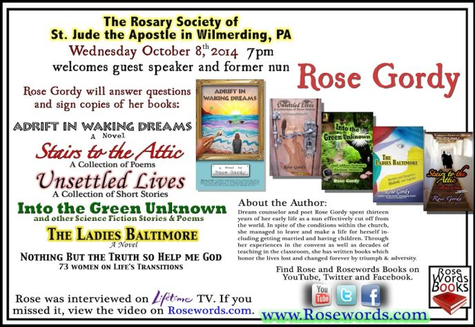 Rose Gordy - Guest Speaker at the Rosary Society on Oct 8, 2014