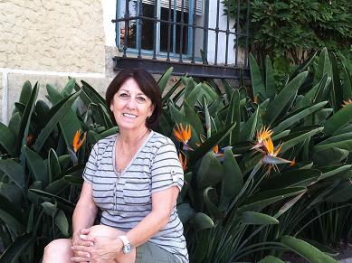 Linda Stiles Fox, outside historic Santa Barbara Courthouse