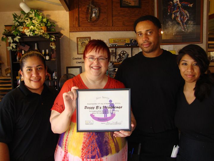 Darliene Howell with Dessy B staff presenting Size Savvy Award.