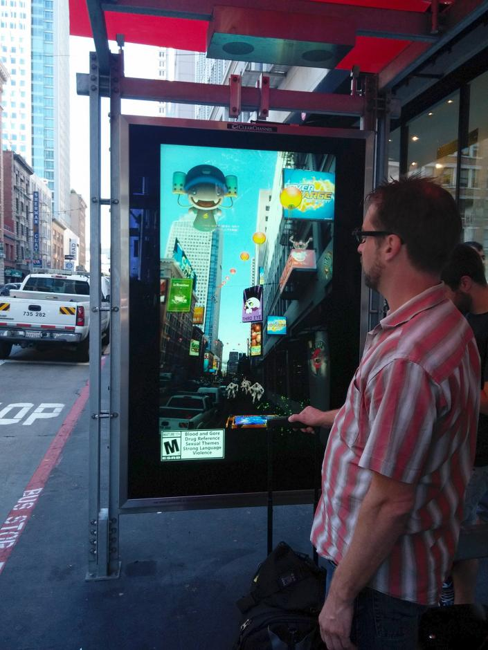 Augmented reality at a bus shelter in San Francisco