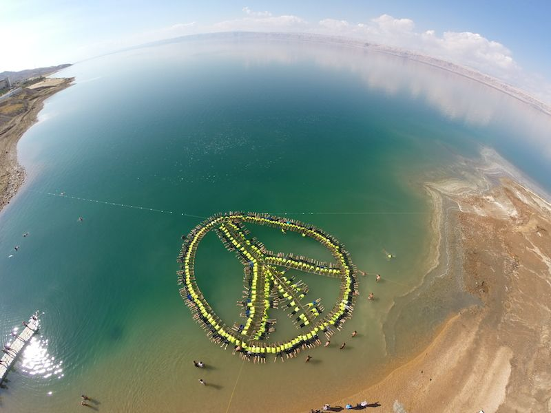 Spectacular View of the Award Winning Human Peace Sign