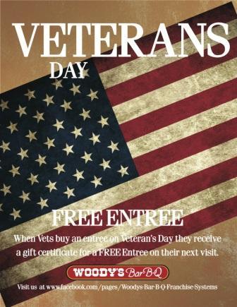 Woody's Bar-B-Q will Honor Veterans on Veterans Day