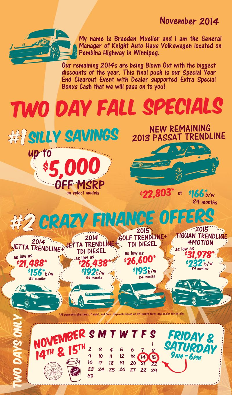 Knight Auto Haus Vw Will Host A Fall Savings Event On