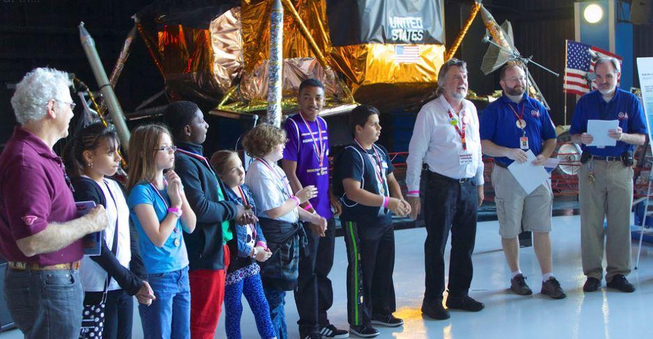 Homer Hickam, Jack Colpas, Chris Myers,Matt Green present awards to RFTS winners