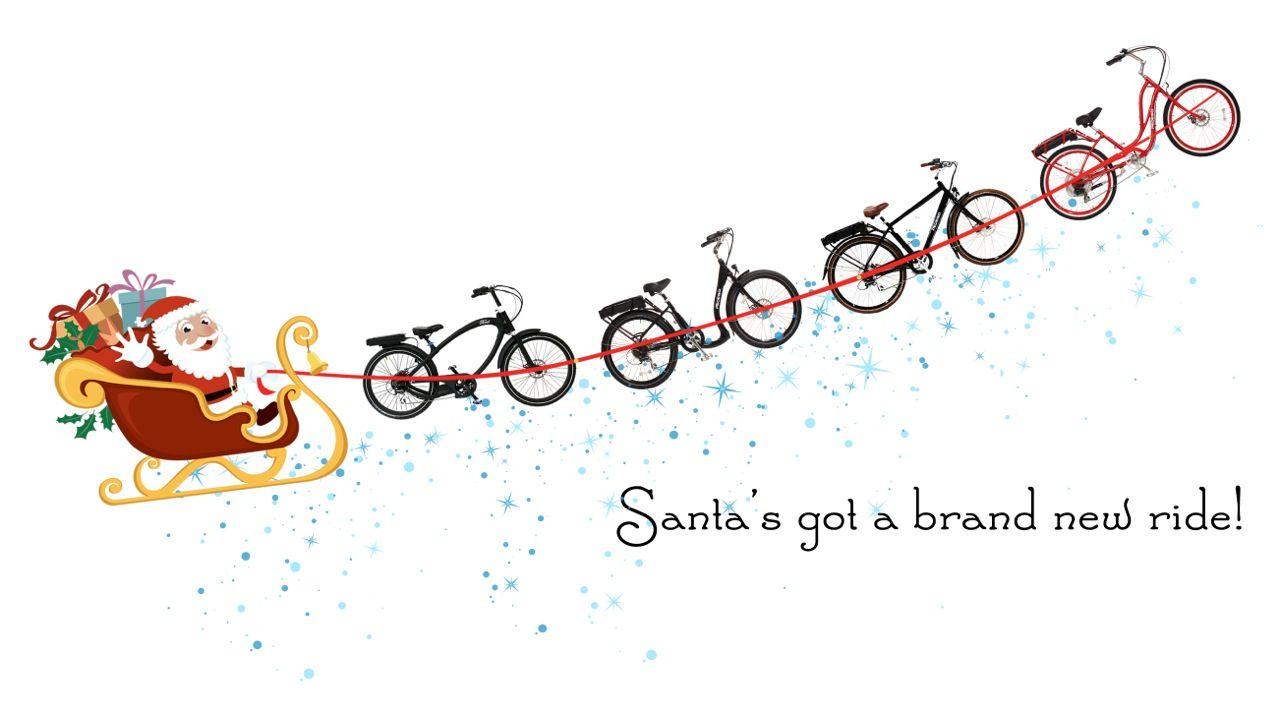 This year, Santa has a brand new team -- a fleet of Pedego electric bikes.