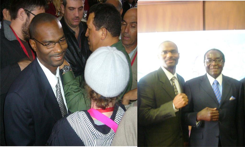 Nation Time founder with Presidents Mugabe of Zimbabwe and Chavez of Venezuela