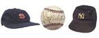 (Left to right) Baseball cap game-used by Babe Ruth during the '34 Tour of Japan