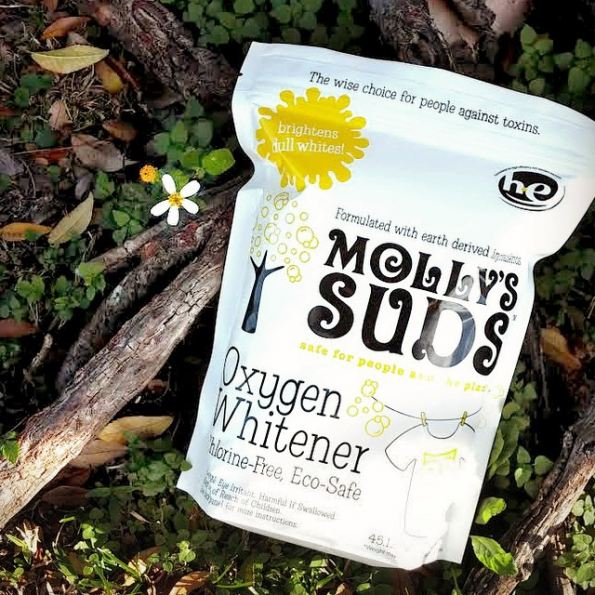 Molly's Suds Oxygen Whitener safely and effectively brightens whites