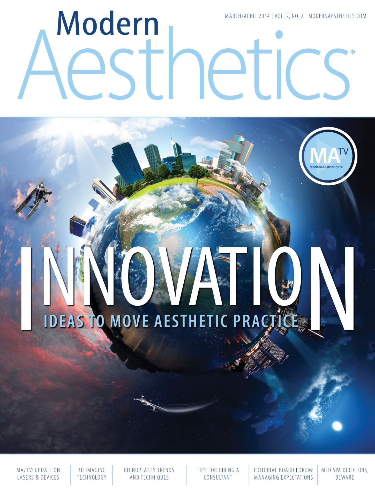The April 2014 Modern Aesthetics® App with the cover focus Innovation.