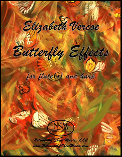 """Butterfly Effects for flute(s) and harp"" by Elizabeth Vercoe"