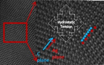 Covetic lattice adjacent NPs showing hydrostatic tension separating silver atoms