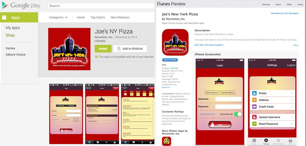 Joe's New York Pizza App